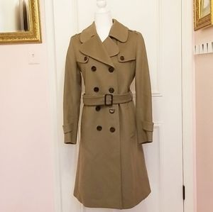 BURBERRY dark camel trench coat
